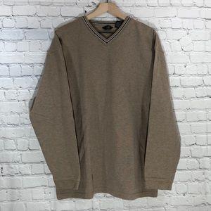 BASS G.H. Bass & Co. V-Neck Tan Pullover Sweater